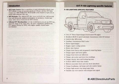 2002 ford svt f150 lightning owners manual supplement. Black Bedroom Furniture Sets. Home Design Ideas